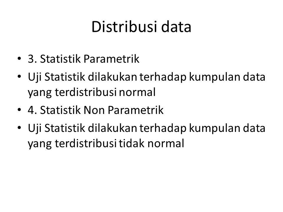 Distribusi data 3. Statistik Parametrik