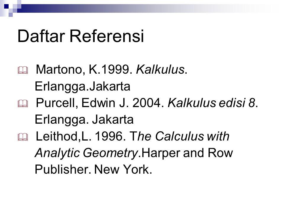 Daftar Referensi Martono, K.1999. Kalkulus. Erlangga.Jakarta