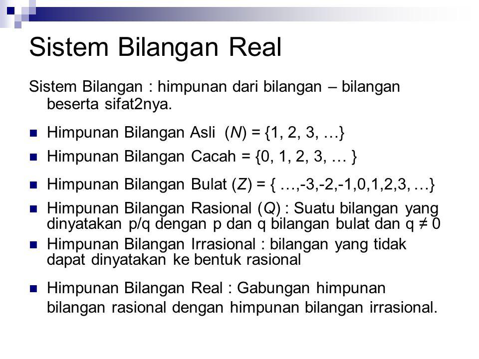 Sistem Bilangan Real Sistem Bilangan : himpunan dari bilangan – bilangan beserta sifat2nya. Himpunan Bilangan Asli (N) = {1, 2, 3, …}