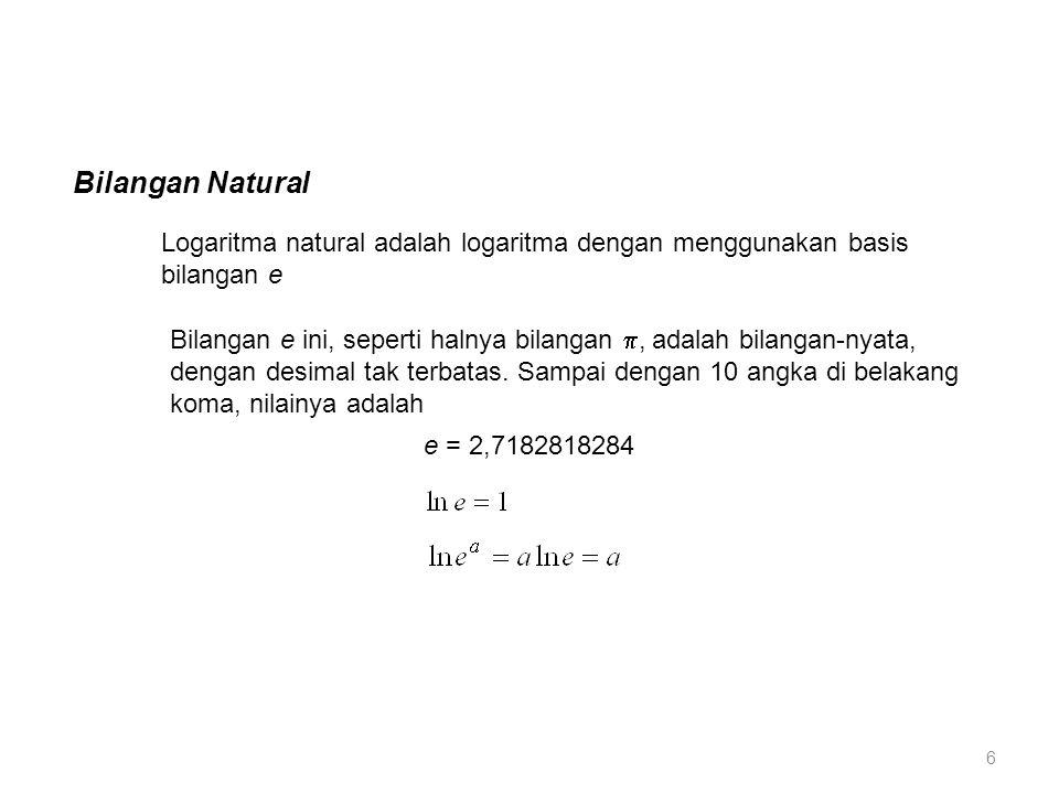 Bilangan Natural Logaritma natural adalah logaritma dengan menggunakan basis bilangan e.