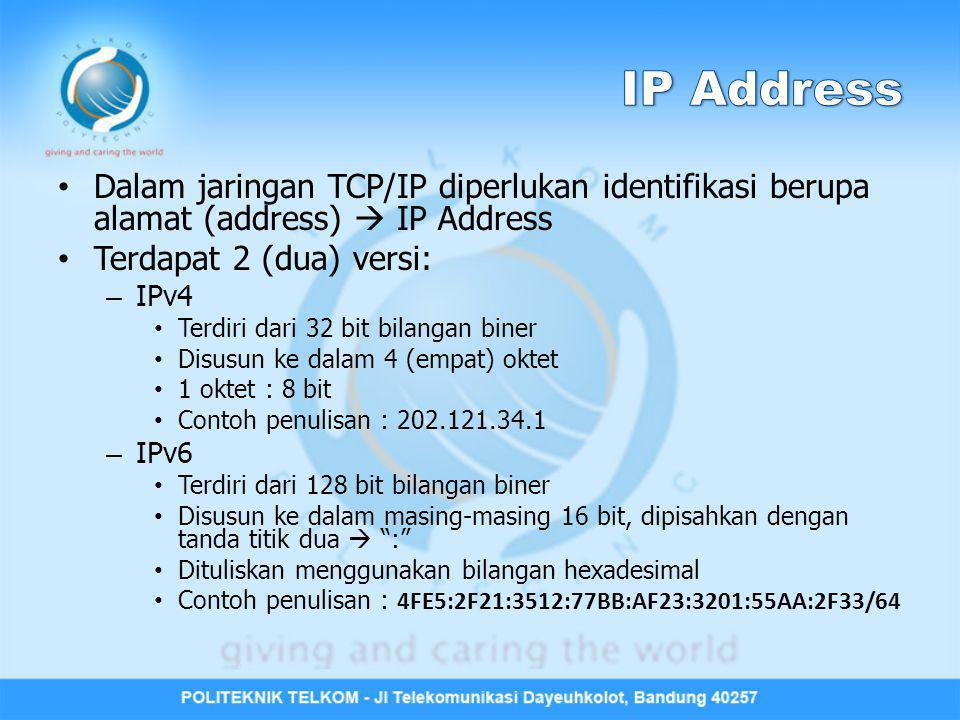 IP Address Dalam jaringan TCP/IP diperlukan identifikasi berupa alamat (address)  IP Address. Terdapat 2 (dua) versi: