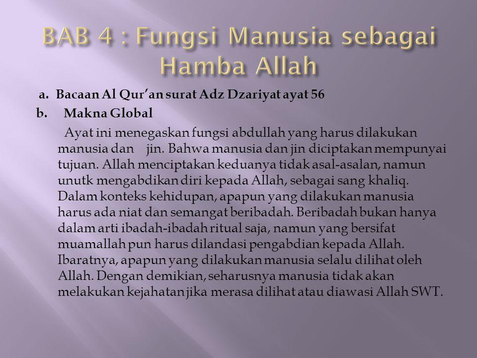 BAB 4 : Fungsi Manusia sebagai Hamba Allah