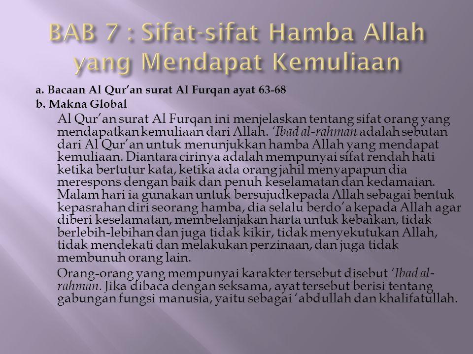 BAB 7 : Sifat-sifat Hamba Allah yang Mendapat Kemuliaan