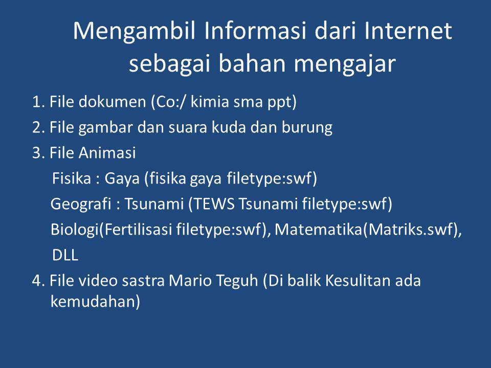Mengambil Informasi dari Internet sebagai bahan mengajar