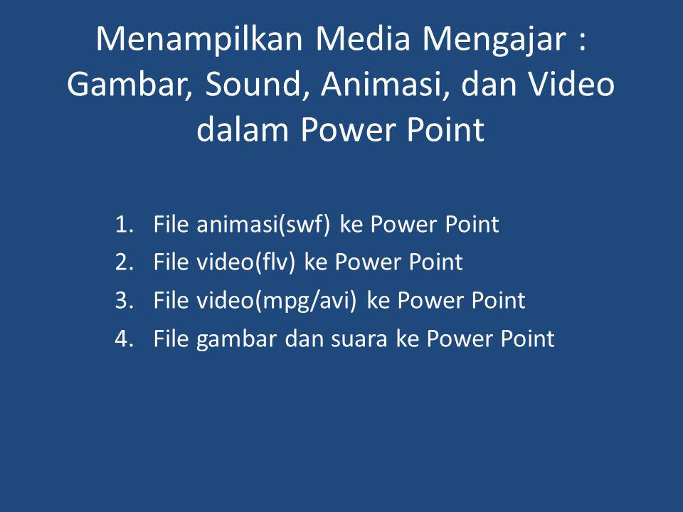 Menampilkan Media Mengajar : Gambar, Sound, Animasi, dan Video dalam Power Point