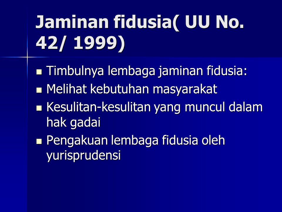 Jaminan fidusia( UU No. 42/ 1999)