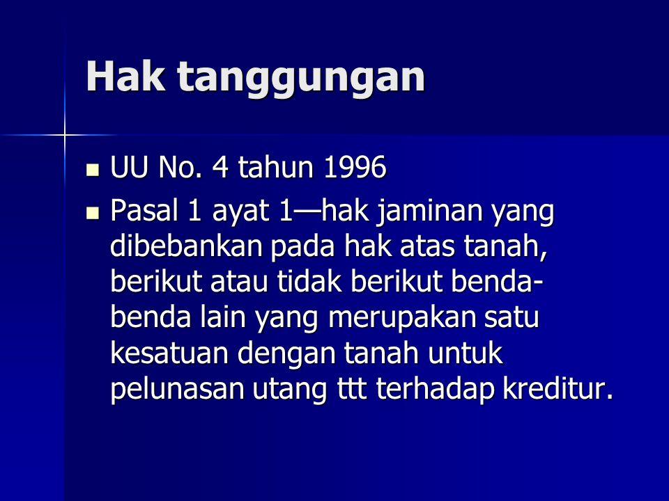 Hak tanggungan UU No. 4 tahun 1996