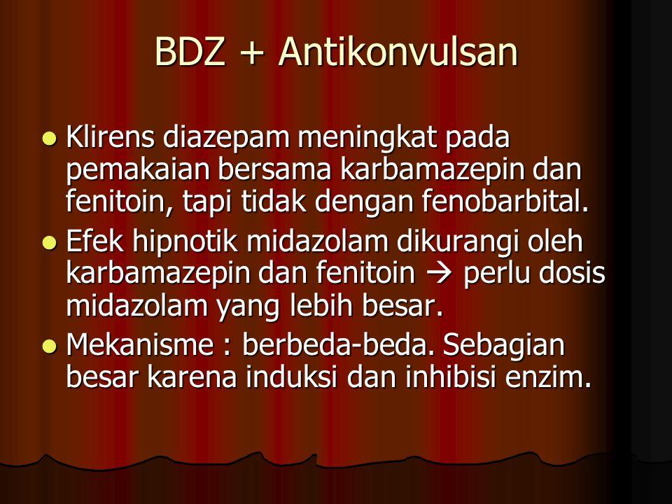 BDZ + Antikonvulsan Klirens diazepam meningkat pada pemakaian bersama karbamazepin dan fenitoin, tapi tidak dengan fenobarbital.