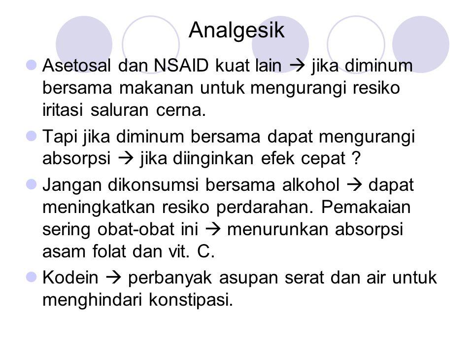 Analgesik Asetosal dan NSAID kuat lain  jika diminum bersama makanan untuk mengurangi resiko iritasi saluran cerna.