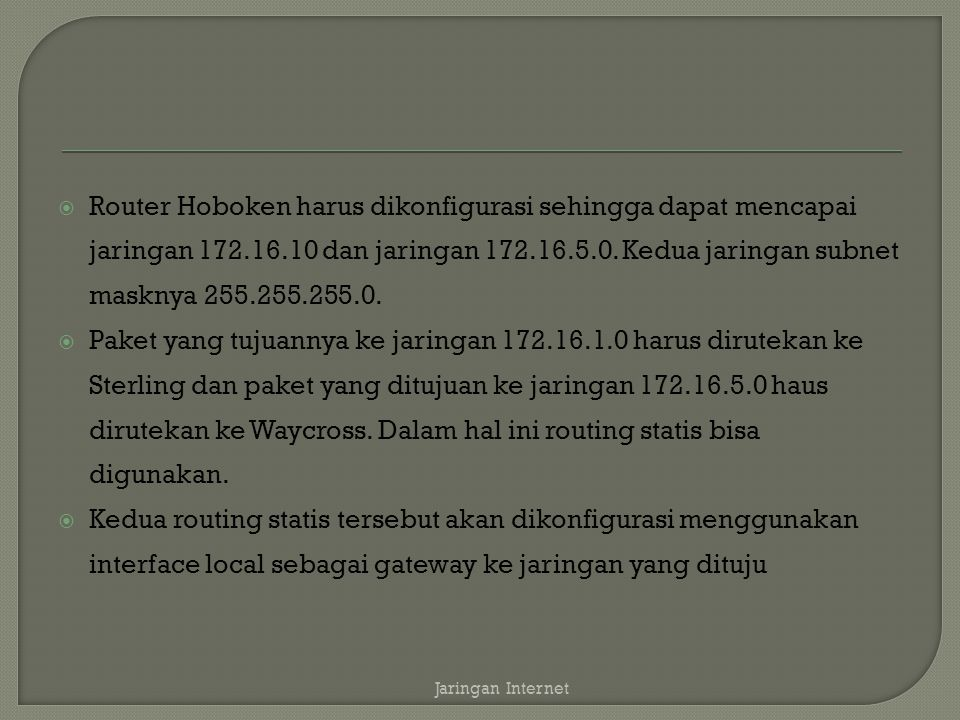 Router Hoboken harus dikonfigurasi sehingga dapat mencapai jaringan 172.16.10 dan jaringan 172.16.5.0. Kedua jaringan subnet masknya 255.255.255.0.
