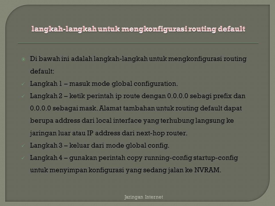 langkah-langkah untuk mengkonfigurasi routing default