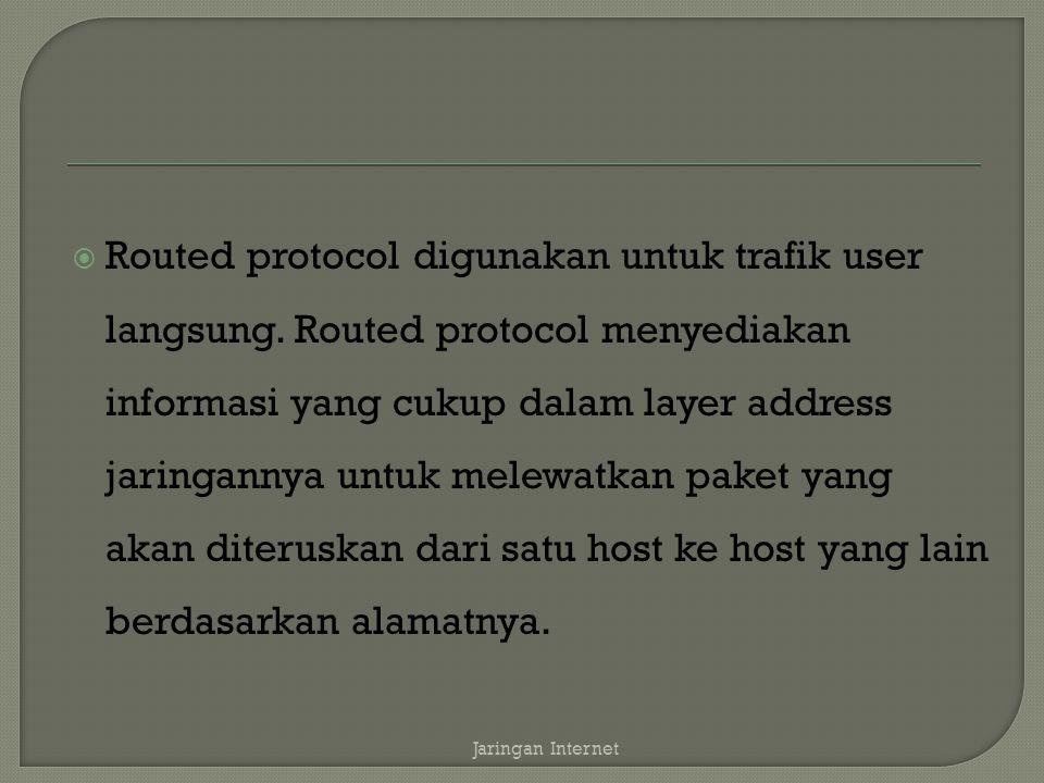 Routed protocol digunakan untuk trafik user langsung