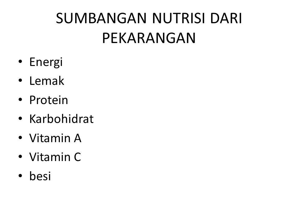 SUMBANGAN NUTRISI DARI PEKARANGAN