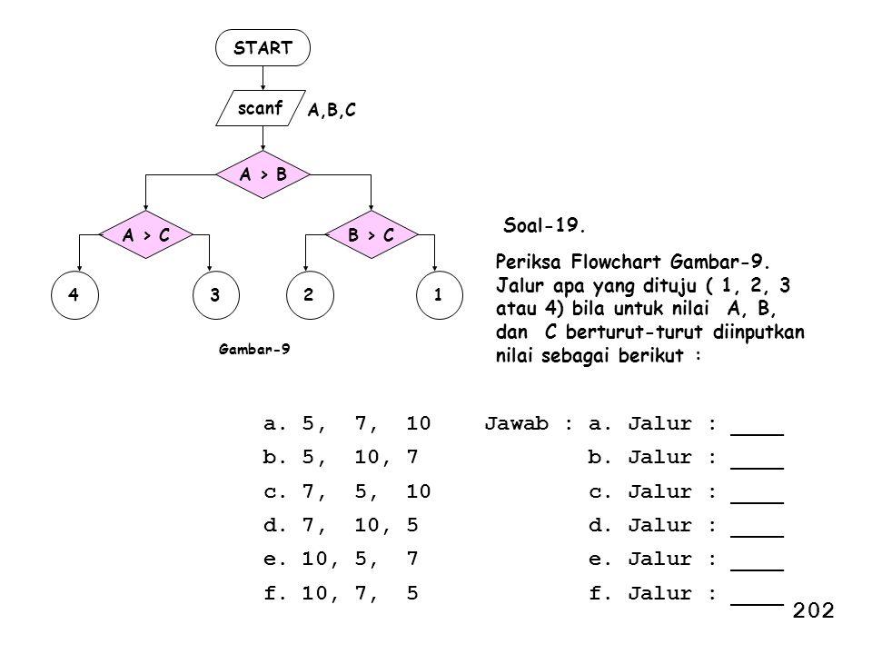 202 a. 5, 7, 10 Jawab : a. Jalur : ____ b. 5, 10, 7 b. Jalur : ____