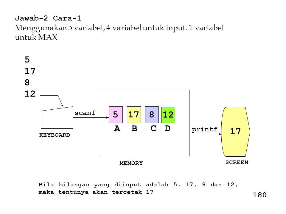 Jawab-2 Cara-1 Menggunakan 5 variabel, 4 variabel untuk input. 1 variabel untuk MAX. 5. 17. 8. 12.