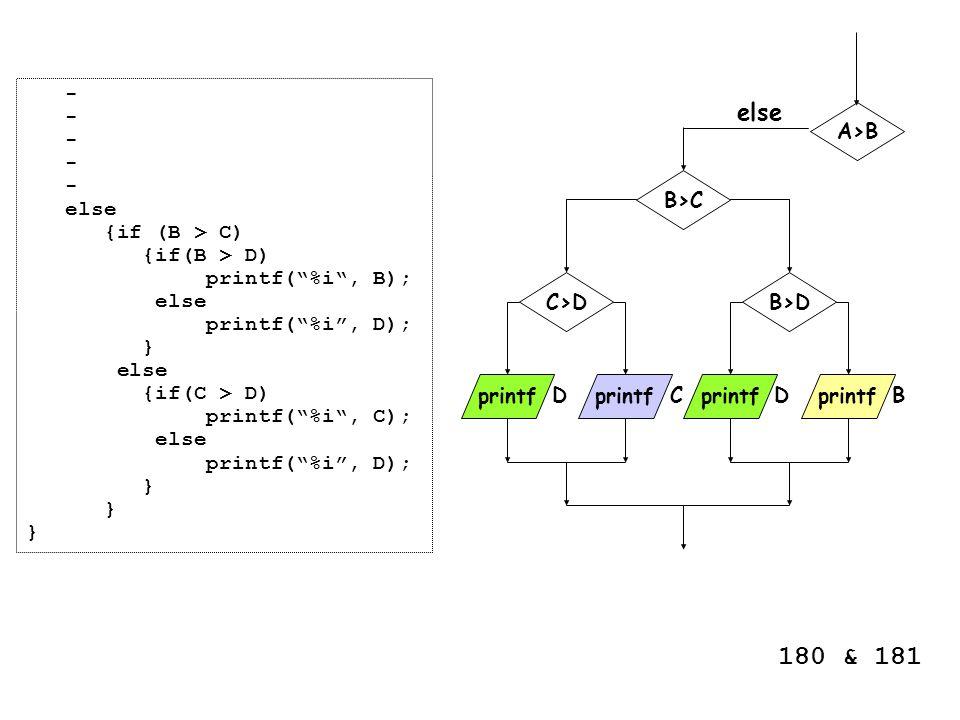 180 & 181 else - else {if (B > C) {if(B > D) printf( %i , B);