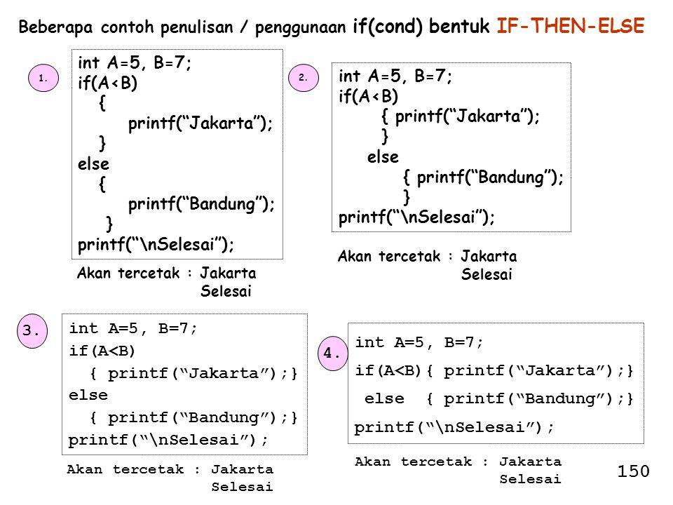 Beberapa contoh penulisan / penggunaan if(cond) bentuk IF-THEN-ELSE