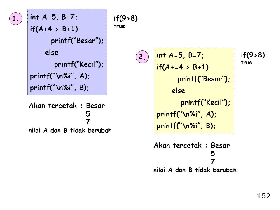 152 int A=5, B=7; if(A+4 > B+1) printf( Besar ); else