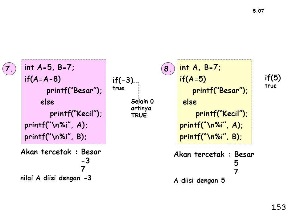 153 int A=5, B=7; if(A=A-8) printf( Besar ); else printf( Kecil );