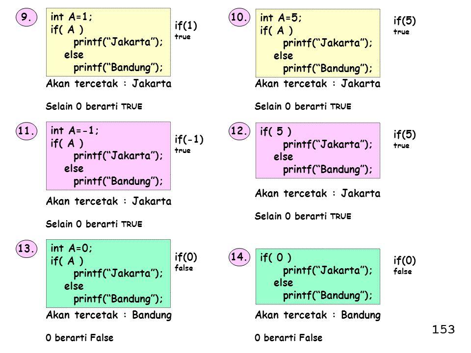 153 9. int A=1; if( A ) printf( Jakarta ); else printf( Bandung ); 10.