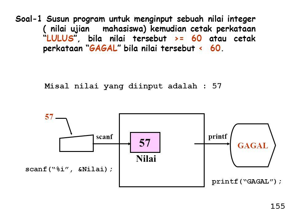 Soal-1 Susun program untuk menginput sebuah nilai integer ( nilai ujian mahasiswa) kemudian cetak perkataan LULUS , bila nilai tersebut >= 60 atau cetak perkataan GAGAL bila nilai tersebut < 60.