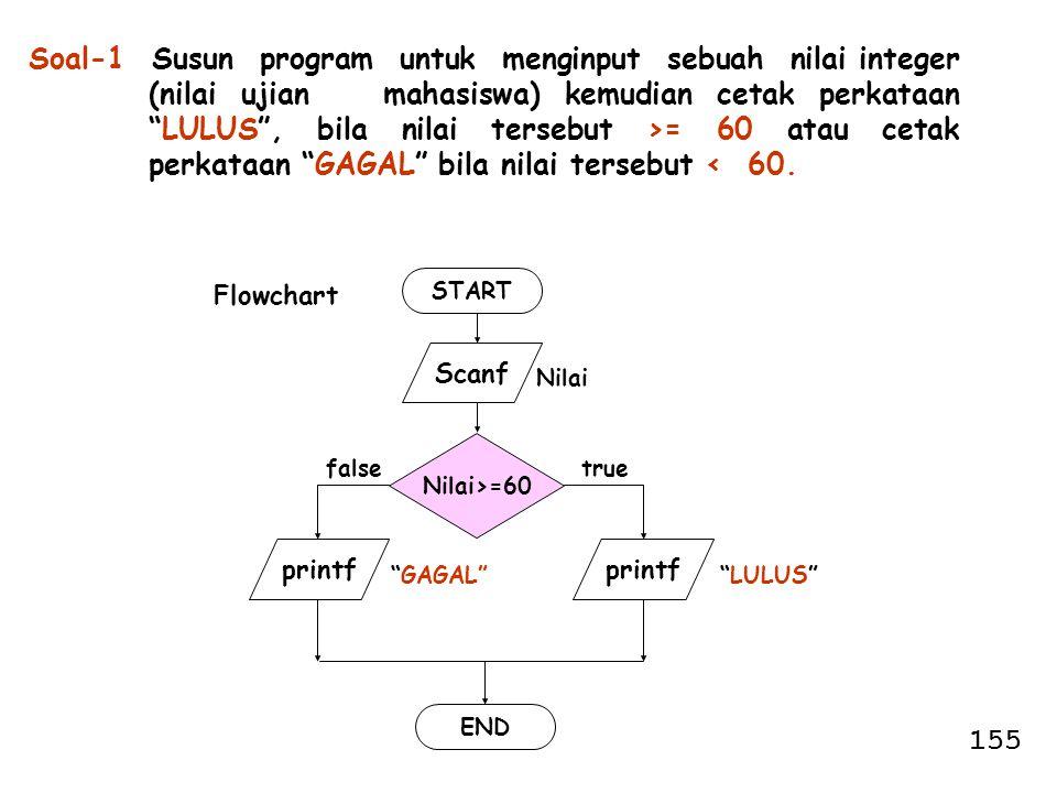 Soal-1 Susun program untuk menginput sebuah nilai integer (nilai ujian mahasiswa) kemudian cetak perkataan LULUS , bila nilai tersebut >= 60 atau cetak perkataan GAGAL bila nilai tersebut < 60.