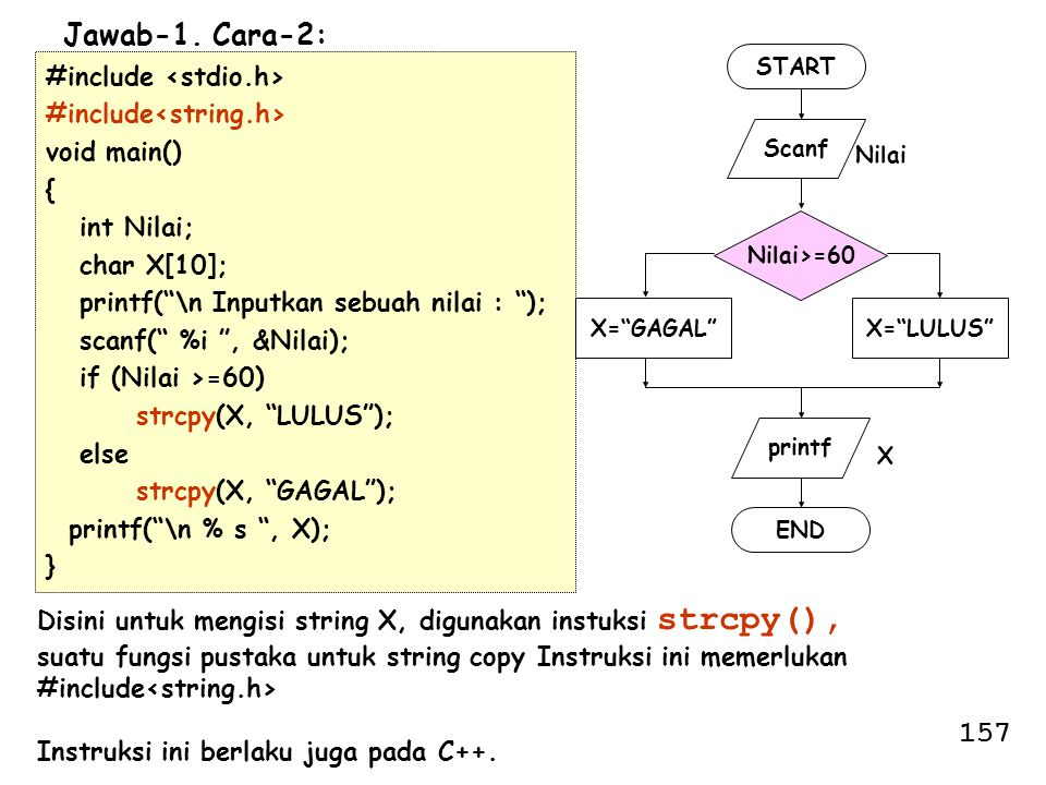 Jawab-1. Cara-2: 157 #include <stdio.h> #include<string.h>