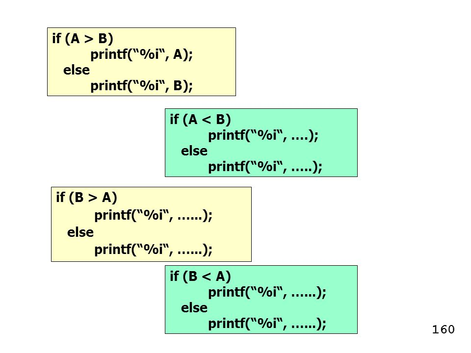 if (A > B) printf( %i , A); else. printf( %i , B); if (A < B) printf( %i , ….); else. printf( %i , …..);