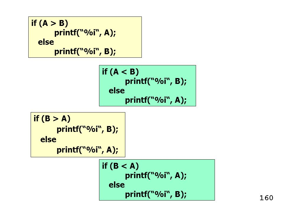 if (A > B) printf( %i , A); else. printf( %i , B); if (A < B) printf( %i , B); else. printf( %i , A);