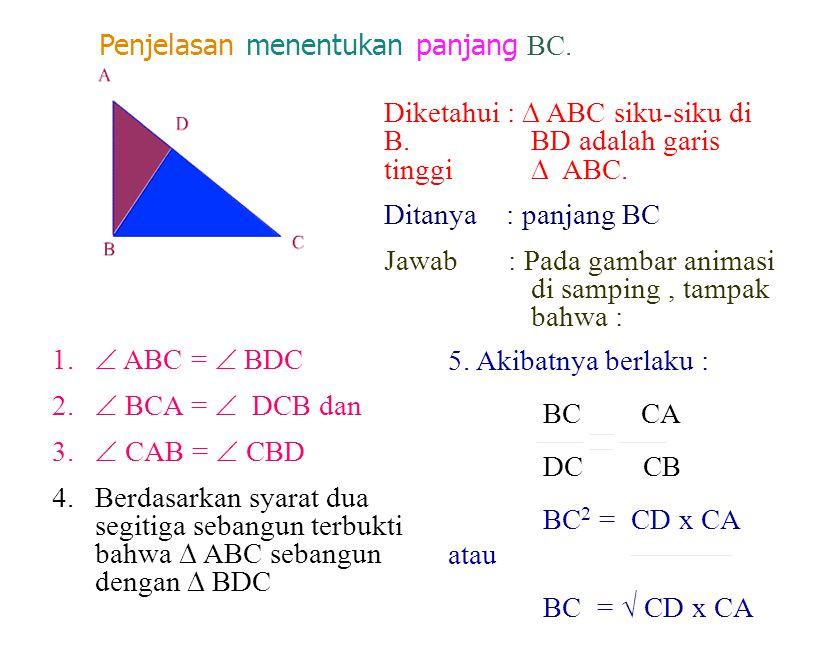 Penjelasan menentukan panjang BC.
