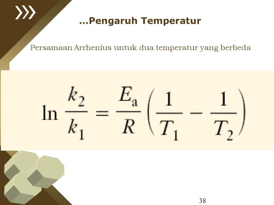 …Pengaruh Temperatur Persamaan Arrhenius untuk dua temperatur yang berbeda