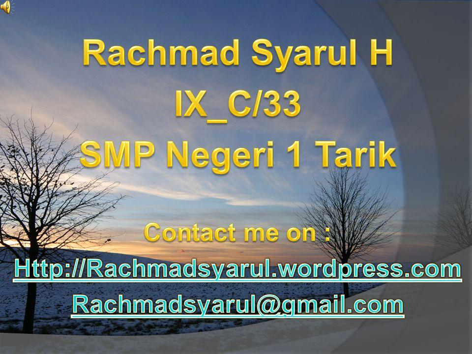 Rachmad Syarul H IX_C/33 SMP Negeri 1 Tarik