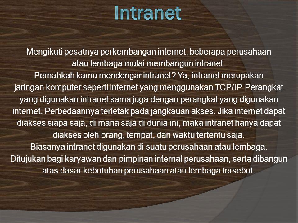Intranet Mengikuti pesatnya perkembangan internet, beberapa perusahaan