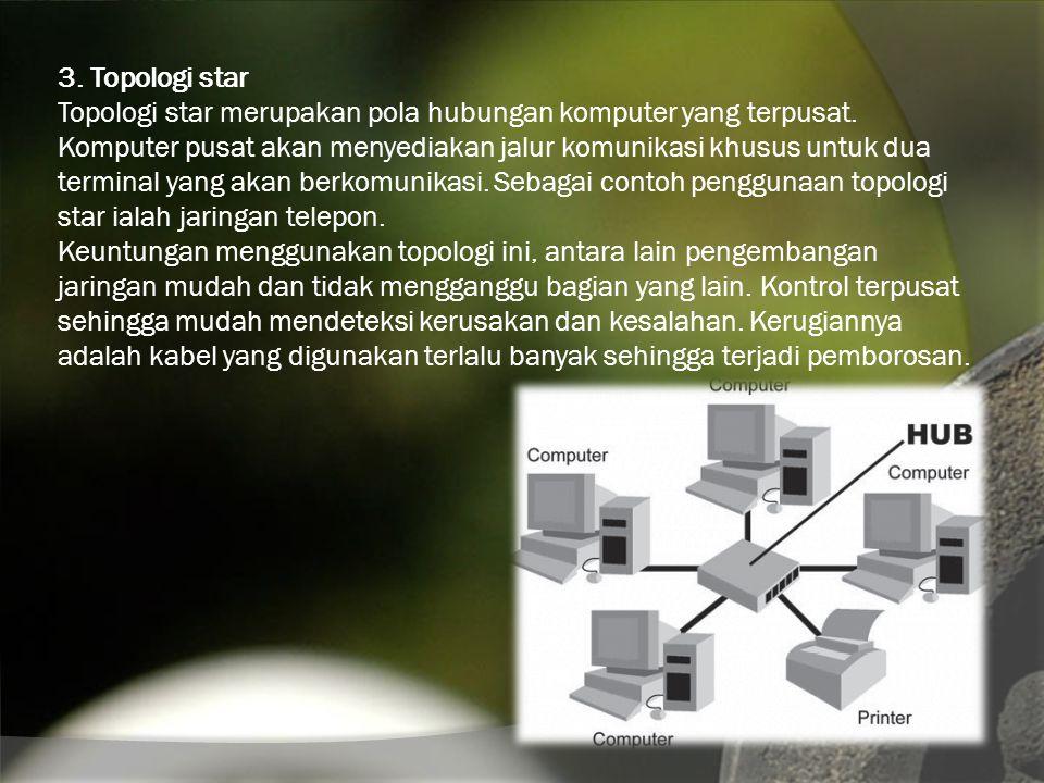 3. Topologi star Topologi star merupakan pola hubungan komputer yang terpusat.