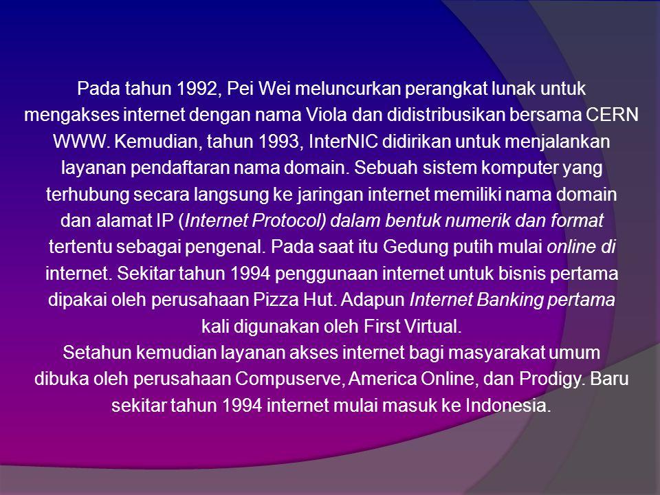 Pada tahun 1992, Pei Wei meluncurkan perangkat lunak untuk