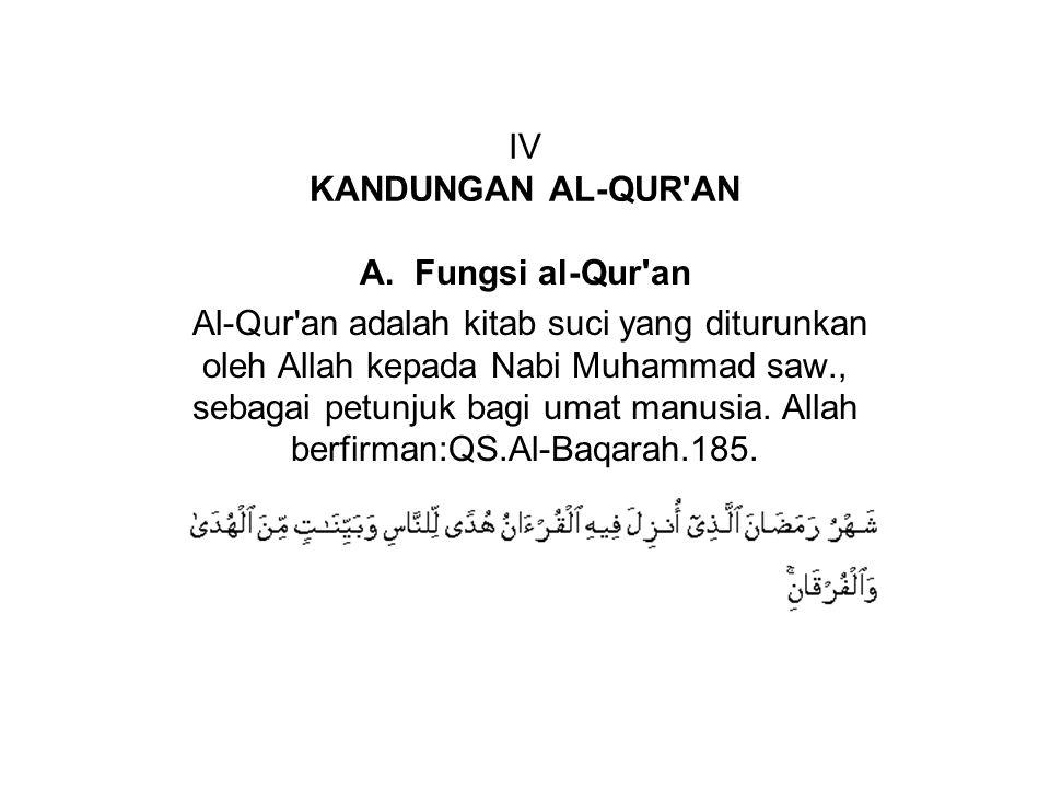 IV KANDUNGAN AL-QUR AN A. Fungsi al-Qur an.
