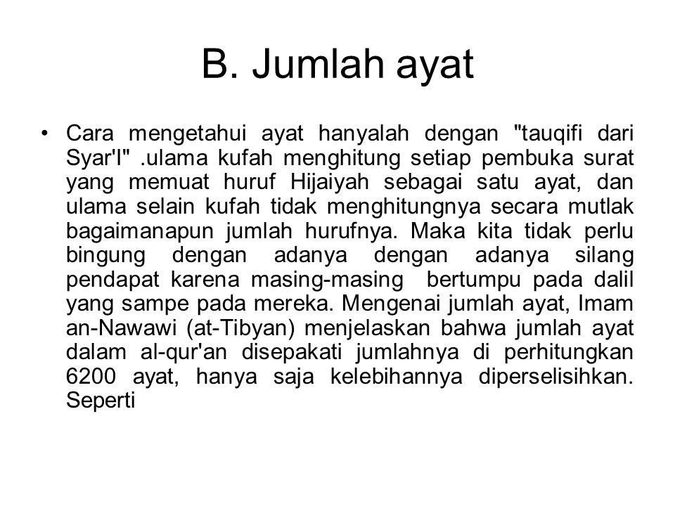 B. Jumlah ayat