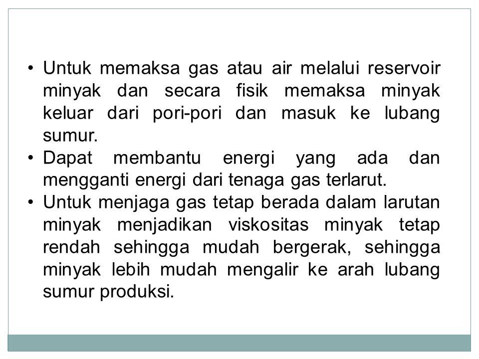 Untuk memaksa gas atau air melalui reservoir minyak dan secara fisik memaksa minyak keluar dari pori-pori dan masuk ke lubang sumur.