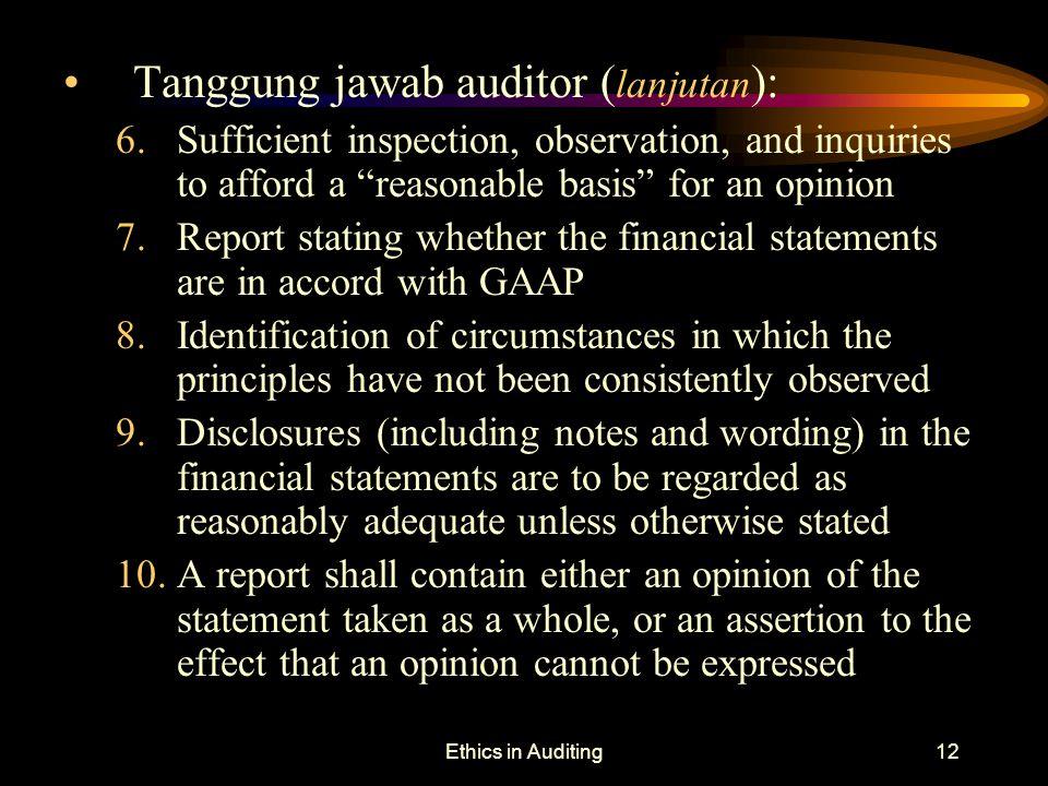 Tanggung jawab auditor (lanjutan):