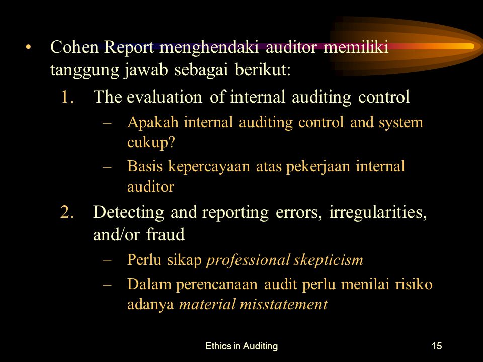 The evaluation of internal auditing control