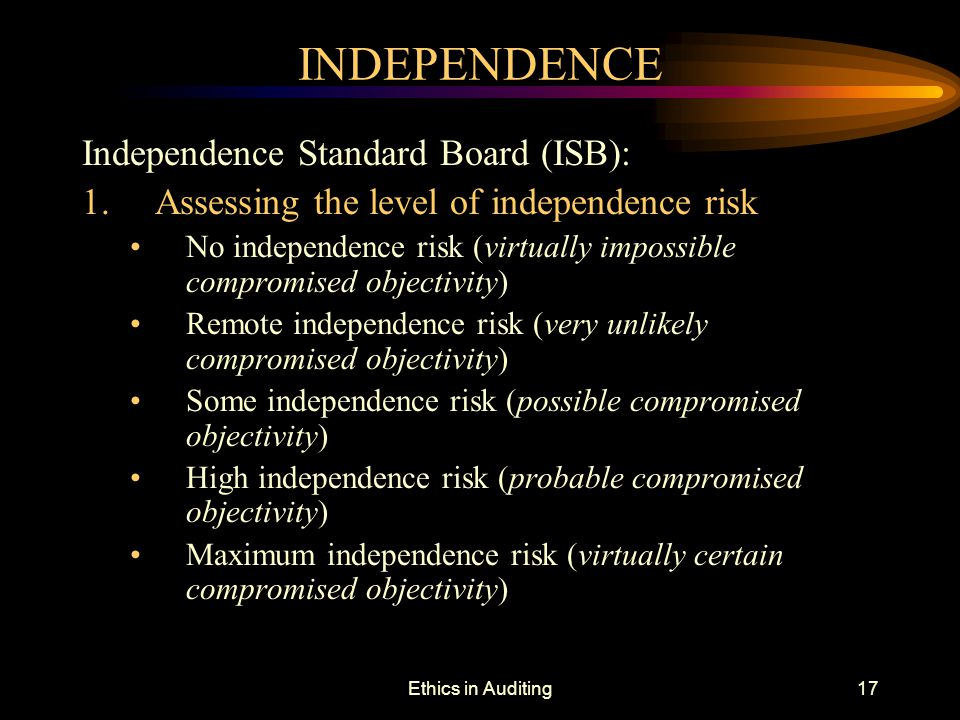 INDEPENDENCE Independence Standard Board (ISB):