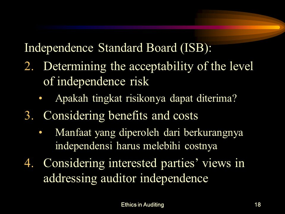 Independence Standard Board (ISB):