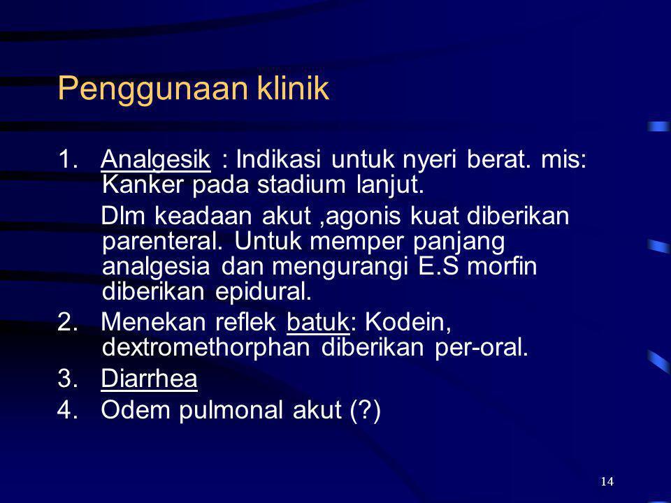 Penggunaan klinik 1. Analgesik : Indikasi untuk nyeri berat. mis: Kanker pada stadium lanjut.
