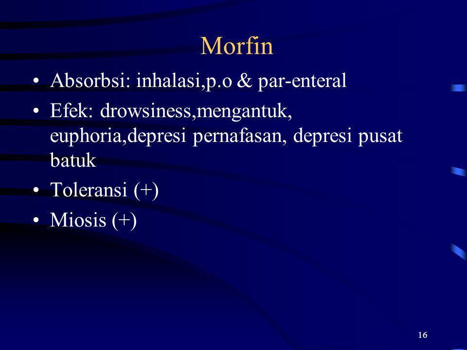 Morfin Absorbsi: inhalasi,p.o & par-enteral