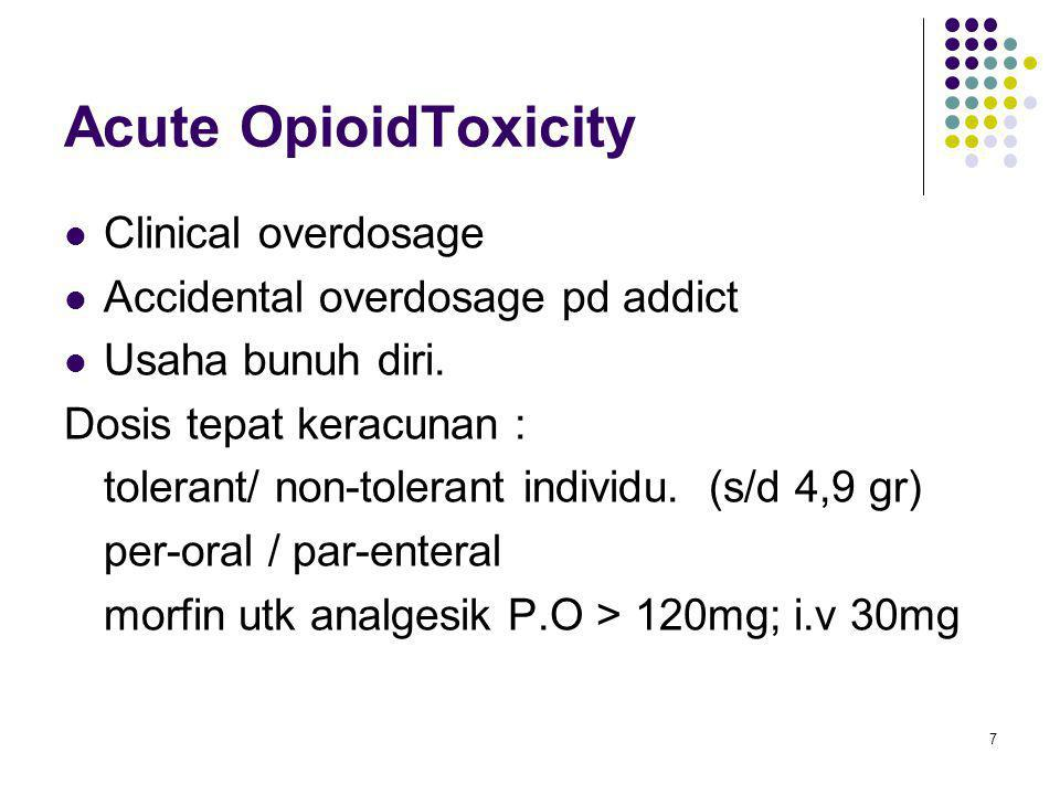 Acute OpioidToxicity Clinical overdosage