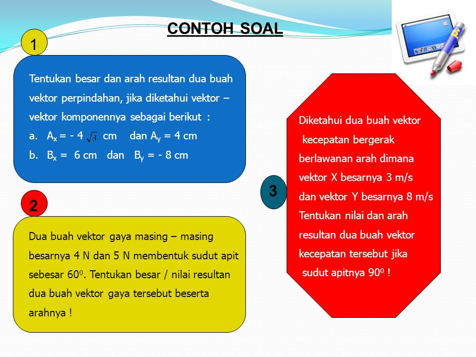 CONTOH SOAL 1 3 2 Tentukan besar dan arah resultan dua buah