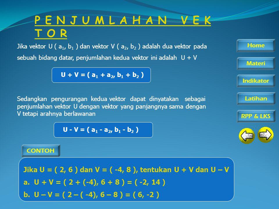 P E N J U M L A H A N V E K T O R Jika vektor U ( a1, b1 ) dan vektor V ( a2, b2 ) adalah dua vektor pada.