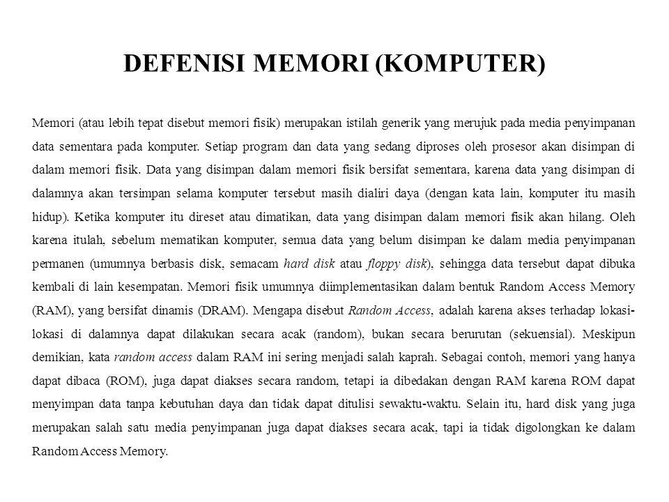 DEFENISI MEMORI (KOMPUTER)