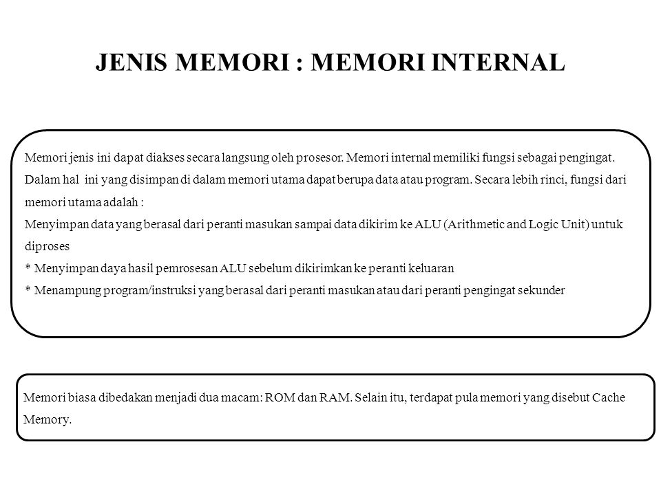 JENIS MEMORI : MEMORI INTERNAL