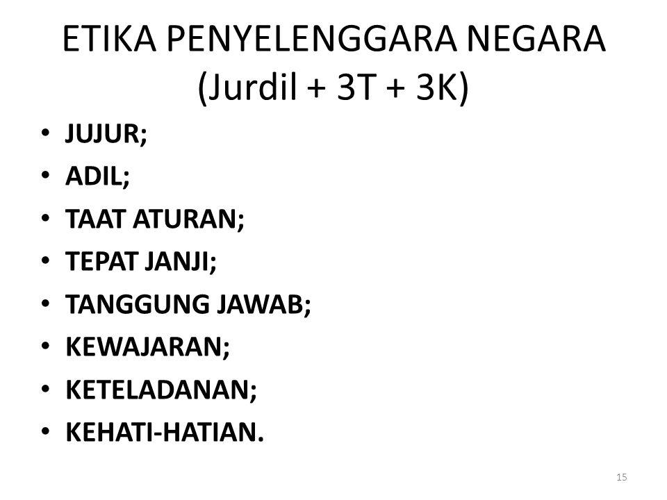 ETIKA PENYELENGGARA NEGARA (Jurdil + 3T + 3K)